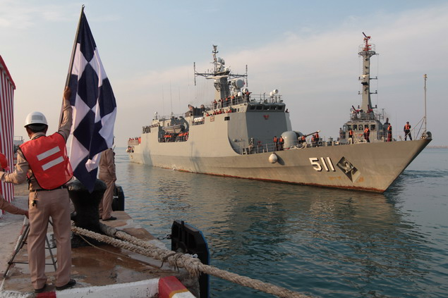 - One of the two Thai ships returns to port at Sattahip naval base on Thursday morning, 137 days after it left on Sept 10. The anti-piracy mission ended on Dec 31.