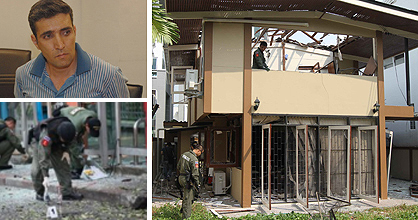 Top left: Iranian bomber suspect Mohammad Hazaei. Bottom left: Bomb disposal experts check an attack site on Sukhumvit road yesterday. Right: The house rented by the three Iranian suspects.