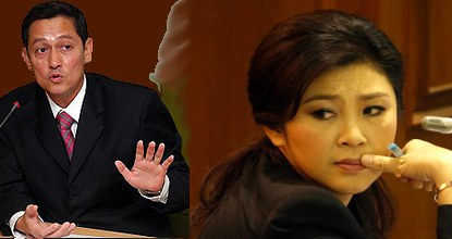 ICT Minister Anudith Nakornthap (left) promised to guard Prime Minister Yingluck against criticism, to the extent of shutting down websites