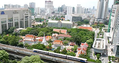 Wat Pathum Wanaram, with the BTS skytrain track, where troops were stationed, in the foreground.