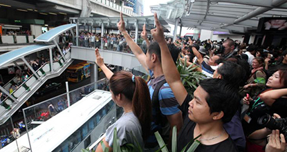 Protesters gather at Terminal 21 to air their opposition to the coup.