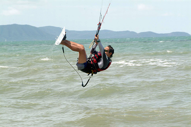 The excitement, and risk, of kitesurfing comes from riding air currents. (Bangkok Post photo)