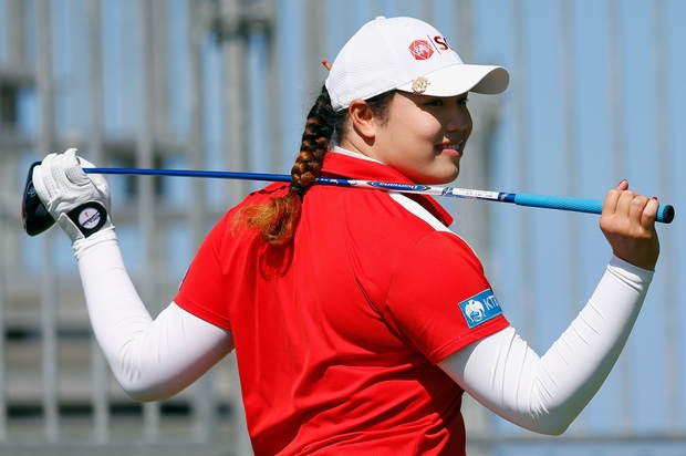 Ariya Jutanugarn, shown above at the recent Pure Silk Bahamas LPGA Classic where she finished second, is the joint leader heading into the fourth round of the Australian Ooen. (AFP Photo)