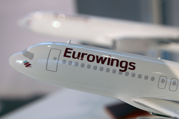 The logo of German Lufthansa's new budget airline Eurowings is pictured on a model at the Lufthansa headquarters in Frankfurt, Germany, The carrier will serve Bangkok and Phuket and three other world cities at launch. (AFP photo)