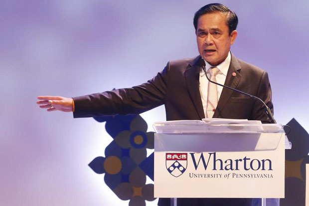Prime Minister Prayut Chan-o-cha tells the Wharton Global Forum in Bangkok on Friday that the US should acknowledge that different situations apply in different countries. (Photo by Pattarachai Prechapanich)