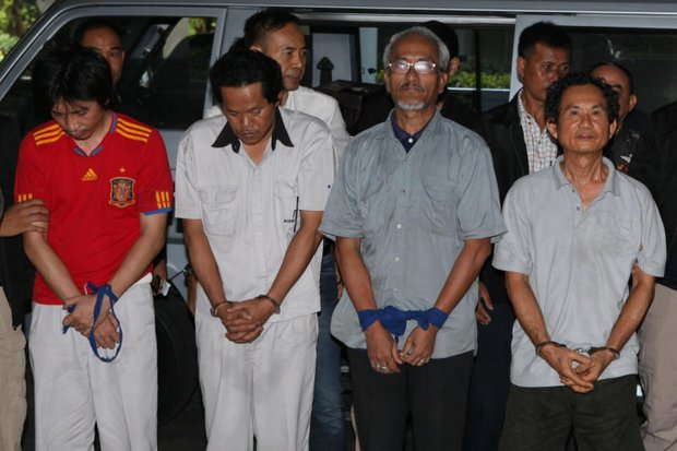 When these four security suspects emerged from military interrogation, they said they had been beaten and electrocuted - charges the National Human Rights Commission will investigate. (Photo by Apichit Jinakul)