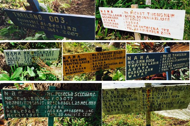 These are markers on some of the graves of more than 80 Thai fishermen, most or all of them slaves, who never made it home from Benjina Island, Indonesia. The island is a popular site for trawler owners to unload the catch from trawlers, before sending it by refrigerated ship back to Thailand for packing and export. (Photos courtesy of Thapanee Ietsrichai)