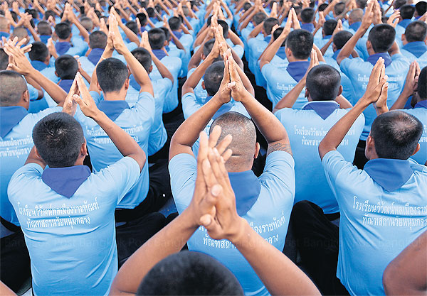 A group of prisoners attend training to prepare themselves before their release. Better policies for drug-related convicts are crucial to solving the problem of prison overcrowding.Pattanapong Hirunard