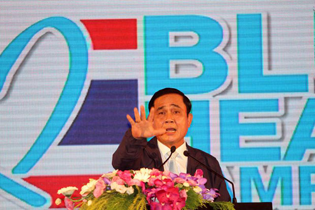 Prime Minister Prayut Chan-o-cha inaugurates June 5 as Anti-Human Trafficking Day in a ceremony at Government House on Friday. (Photo by Apichart Jinakul)