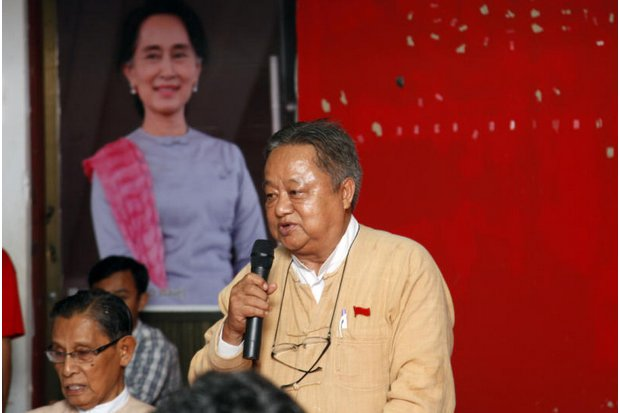 Win Htein, a member of parliament and of Aung San Suu Kyi's National League for Democracy Party, speaks to reporters. He is one of the few politicians who worked two years ago to stop religious violence against minority Muslims in Meiktila in central Myanmar. (AP photo)