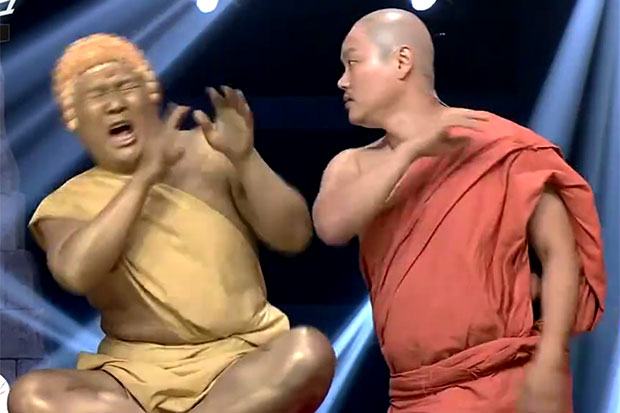 A screengrab from a video posted on the Comedy Big League TV show's Facebook page contains several scenes that Thai viewers considered an affront to Buddhism.