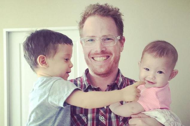 Concerned: Gordon Lake with son Alvero and daughter Carmen.