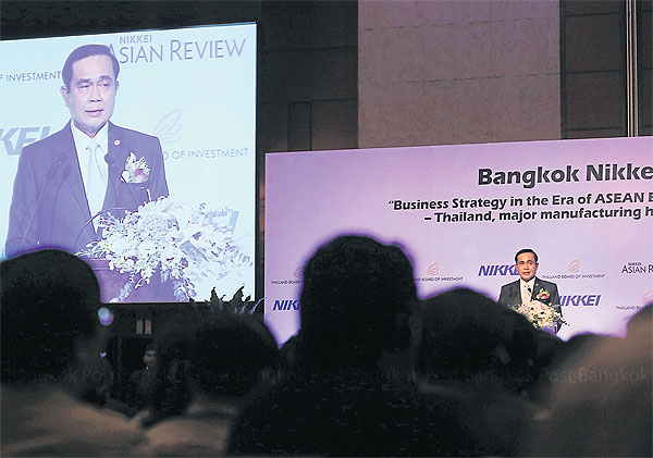 The SEZs would  be a perfect place  for Japanese  investment in  Asean, says  Prime Minister  Prayut Chano-  cha. He was  speaking at the  Nikkei Bangkok  Forum, a one-day  seminar presented  by Japan's  Nikkei Inc and  Thailand's Board  of Investment.  PATTARACHAI  PRECHAPANICH