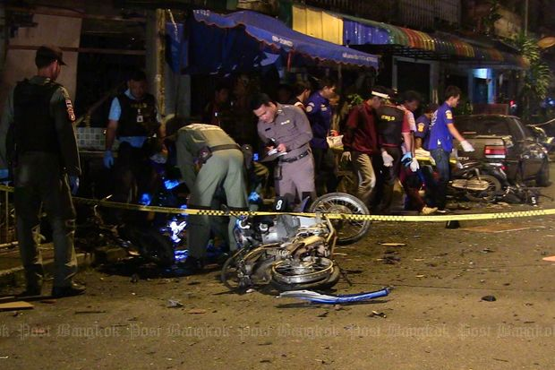 A motorcycle bomb in Padang Besar of Songkhla's Sadao district kills three and injuring three early on July 11, 2015. (Photo by Vichayant Boonchote)