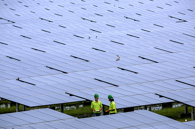 Employees of a solar farm company take notes between panels at the farm in Nakorn Ratchasima province in this 2013 file photo. Come December, Thailand will have more solar power capacity than all of Southeast Asia combined. (Reuters photo)