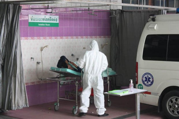Authorities in Rayong have isolated this man, who reported to hospital with symptoms of the Middle East Respiratory Syndrome (Mers) disease, and fear Mers has been brought in by workers from Korea - one of whom died last week. (Photo by Jumphol Nikomruk)