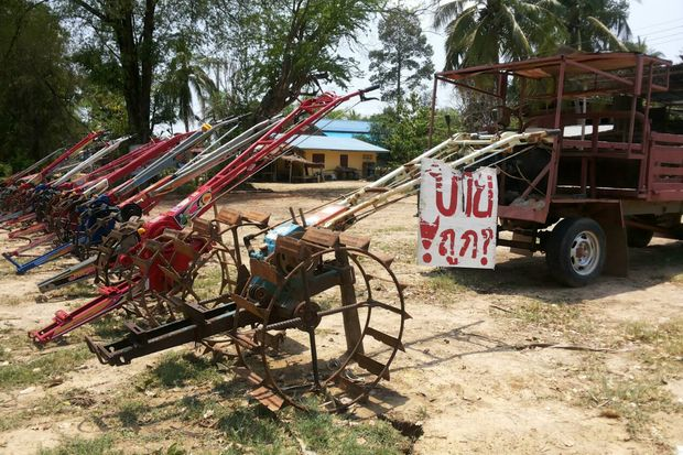 Farm tools are put on sale in Phitsanulok in April 2015 as farmers need money to repay their debts. (Post Today file photo)