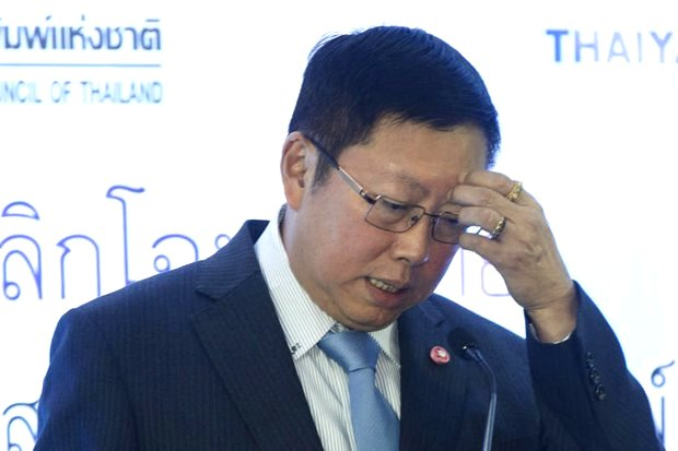 Borwornsak Uwanno, head of the Constitution Drafting Committee (CDC) attempts to explain the sudden appearance of a powerful