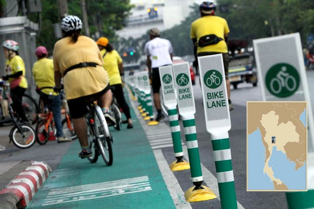 Call the Guinness Book of World Records about Gen Prayut's idea for the world's longest bike lane - 184.8 kilometres, passing through five provinces from north of Bangkok to the Chao Phraya Dam. (Photo by Pornprom Satrabhaya)