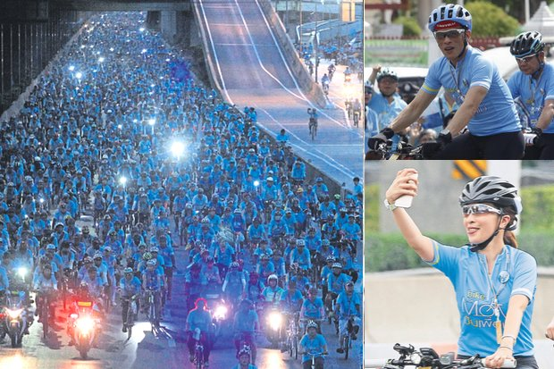 Sunday's Bike for Mom, led by His Royal Highness Crown Prince Maha Vajiralongkorn and his daughter, Her Royal Highness PrincessBajrakitiyabha, in honour of Her Majesty the Queen, had 294,863 riders, the biggest such parade ever. (Photos by Pattarapong Chatpattarasill, Thanarak Khunton)