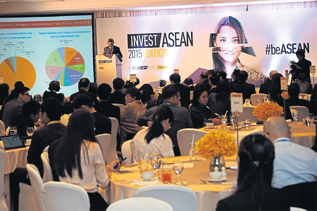Participants listen to speakers at the Invest Asean conference in Bangkok, one of a series of country-themed events being staged across the region.