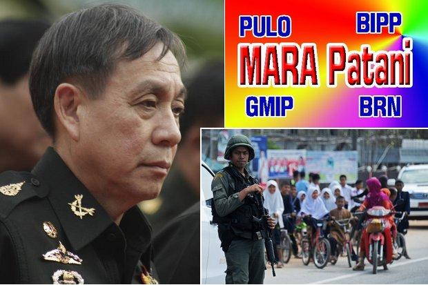 Malaysian government officials will lead an alliance of insurgency groups from the deep South in preliminary peace talks Wednesday with a Thai team led by Gen Aksara Kerdpol (above), already in Kuala Lumpur. (Bangkok Post photos, graphic by Patani News)