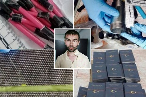 Police believe a Thai woman kept a second safe house for the bombers to assemble explosives from these and other materials - as interrogators slowly wring information from the arrested foreigner (inset) whose identity is still unknown. Clockwise from top left: Explosive detonators, pipes that could pack bombs, far too many (probably fake) Turkey passports, and thousands of 5mm ball bearings, the size used in the Ratchaprasong explosion - four reasons the unidentified bombing suspect (inset) was taken into custody on Saturday.