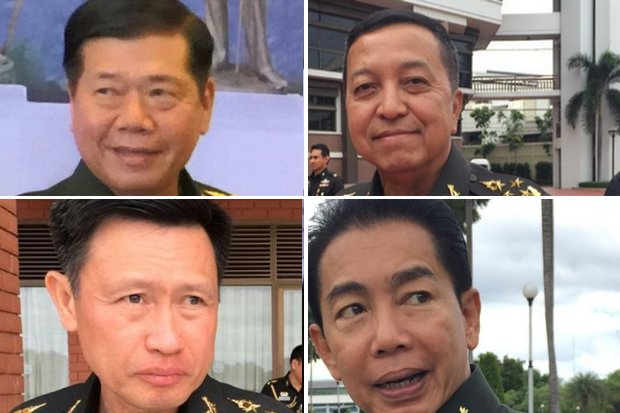 Clockwise from top left, the Oct 1 army succession: Gen Thirachai Nakwanich, commander;  Gen Pisit Sitthisarn, chief of staff; Lt Gen Theppong Tippayajan, 1st Army chief; Maj Gen Apirat Kongsompong, 1st Corps commander.