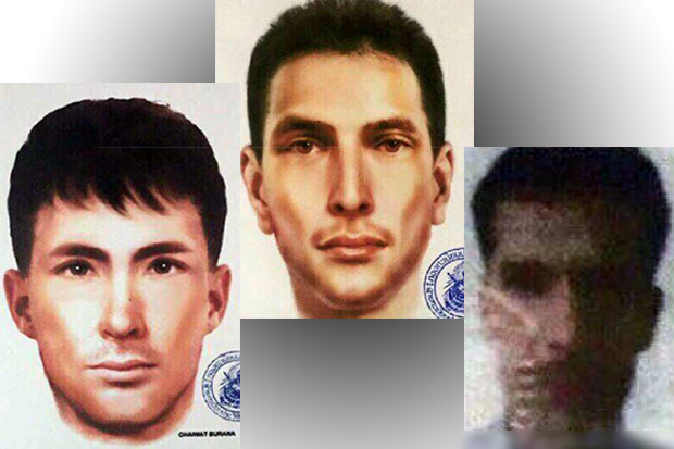 Composite sketches and a grainy identification card photo of three new suspects in last month's Bangkok bombings released by police Tuesday.