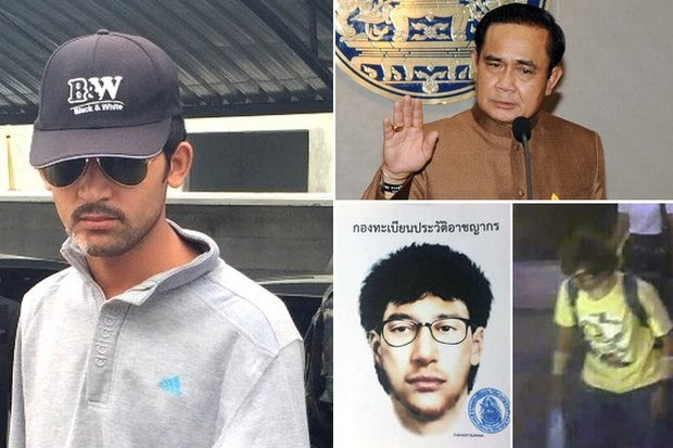 From left, counter-clockwise: The bombing suspect arrested Tuesday, the Erawan shrine bomber's identikit image, and the bomber caught on video. Authorities say the arrested man may be the prime bombing suspect in the yellow T-shirt. Prime Minister Prayut Chan-o-cha says to wait until evidence is fully evaluated. (Photos courtesy of Royal Thai Police, Government House)