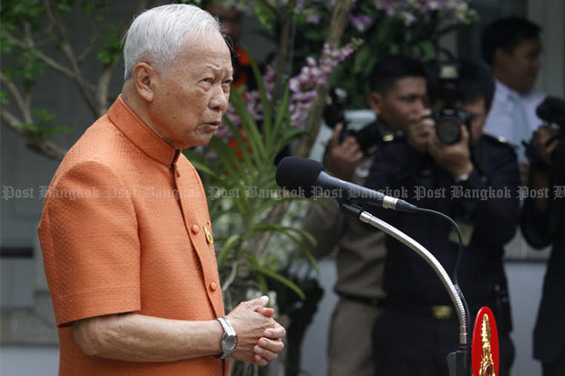 Privy Council president Prem Tinsulanonda on Wednesday repeated his call for Thai people to fight graft and not to show respect to corrupt individuals. (Bangkok Post file photo)