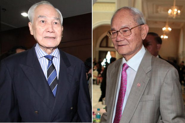 Former prime ministerAnand Panyarachun (left) and legal expert Meechai Ruchupan are among those mentioned as likely new constitution writers, but the government including Prime Minister Prayut Chan-o-cha deny anyone has yet been approached. (Bangkok Post file photos)
