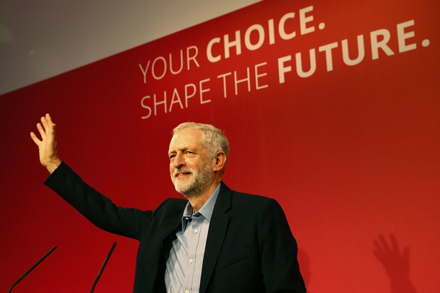 Jeremy Corbyn makes his inaugural speech as leader of the Labour Party at the Queen Elizabeth Centre in London on Saturday. (Reuters Photo)