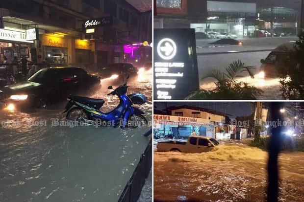 Pattaya took the first brunt of Tropical Storm (now a depression) Vamco, as the prime minister ordered the digging of 30 more <i>kaem ling</i> retention areas to fight flooding and serve the dry season. (Post Today photos)