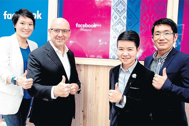 Facebook celebrates the opening of its Thai office, led by Asia-Pacific vice-president Dan Neary (second left), Thailand SME manager Rathiya Issarachaikul (second right), account manager Vi Oparad (left) and client partner Arnon Suntivisut (right). PHOTO COURTESY OF HILL AND KNOWLTON
