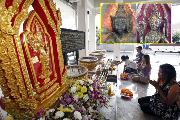 Worshippers pay respects to a bronze replica of Phra Maha Thep Phra Klang Maha Sombat at the Bangkok City Pillar Shrine opposite the Grand Palace. Inset photos show original wooden image of Phra Maha Thep Phra Klang Maha Sombat (left) and Phra Sayamthevathirat, covered with gold leaf. (Main photo by Apichart Jinakul)