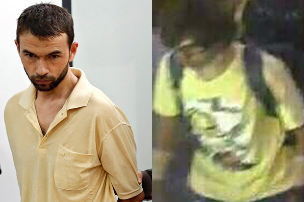 Photos of detained Erawan bombing suspect Adem Karadag (left) and the yellow-shirted man believed to have placed the deadly Erawan shrine bomb Aug 17. Police and Mr Karadag's lawyer are denying the two men are the same. (Reuters photos)