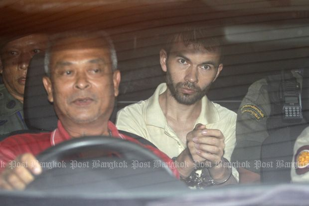 Mr Karadag is brought to the Min Buri court on Sept 5, 2015. (File photo by Thanarak Khunton)