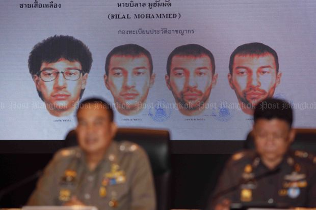 Police chief Somyut Poompunmuang (left) speaks at the briefing on the progress of the Erawan shrine and Sathorn pier bombings at the Royal Thai Police headquarters in Bangkok on Monday. (Photos by Apichart Jinakul)