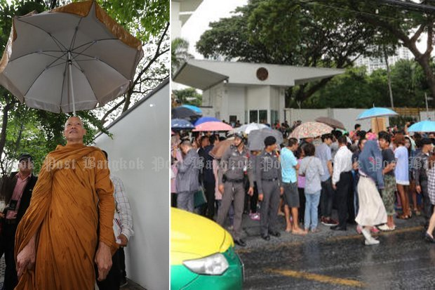 Police kept the peaceful anti-American crowds back from the US embassy entrance, and escorted activist monk Phra Buddha Isara through police lines to meet US officials. (Photos by Pattanapong Hirunard)