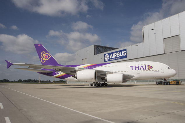 THAI's first A380 superjumbo rolls out from Airbus' assembly facilities in Toulouse, France, in 2012. Photo courtesy of Airbus