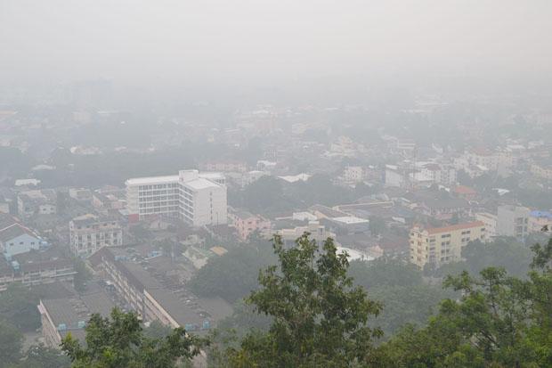 Haze is seen over Phuket on Monday. (Photo by Achadtaya Chuenniran)