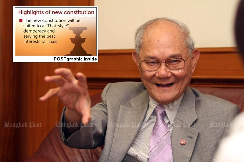 Chief drafter Meechai Ruchapan is considering an unelected prime minister and senate in the next constitution, with