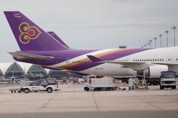 Thai Airways International is falling far short of essential targets in increasing revenue and cost reductions if it is to survive. (Photo by Jiraporn Kuhakan)