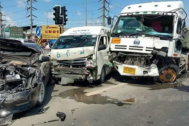 Five people were hurt when this truck smashed into cars at a red light in May. Thailand this year posted the second-highest road-fatality rate in the world, the World Health Organization said. (Bangkok Post file photo)