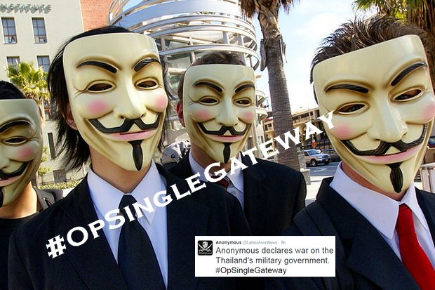 Anonymous is a collective, known to have members in the US and Europe. This file photo shows Anonymous members during a controversy over the Church of Scientology in the United States. (Photo by Creative Commons licence, via Wikipedia)