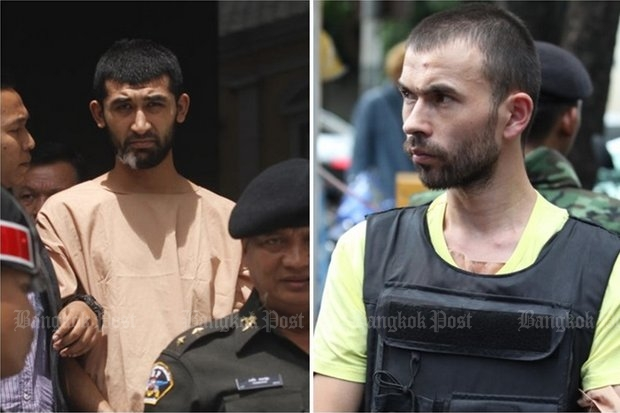 An 8,000-page police dossier charges Uighur suspects known as Bilal Turk (right) and Yusufu Mieraili with the Aug 17 Erawan shrine bombing. (Bangkok Post file photos)