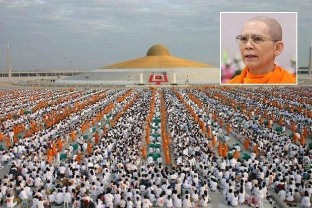 The DSI says founder Phra Dhammachayo (inset) of Wat Dhammakaya was directly involved in use of embezzled funds, part of which went to new buildings at the wat, above. (Bangkok Post file photos)