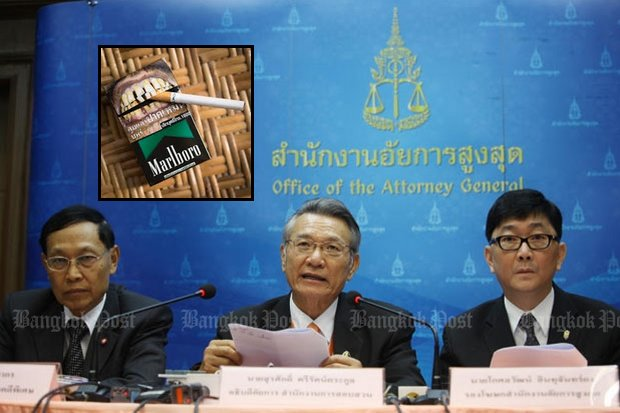 The Office of the Attorney General has prepared to indict Philip Morris in a tax evasion case but a World Trade Organisation ruling is giving pause. (Bangkok Post file photo)