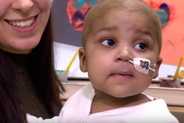 Little Layla Richards, who just weeks ago seemed certain to die soon, nows appears to be a normal healthy one-year-old child. (From BBC video)